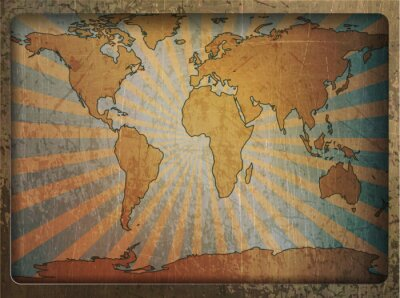 Adesivo Vintage card world map