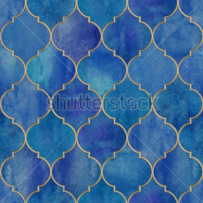 Adesivo Vintage decorative moroccan seamless pattern with glittering line. Watercolor hand drawn blue purple stained-glass window design. Watercolour oriental elements. Print for textile, wallpaper, wrapping.