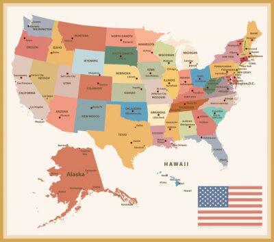 Adesivo Vintage mappa colore politico degli Stati Uniti