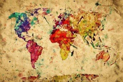 Adesivo Vintage mappa del mondo.