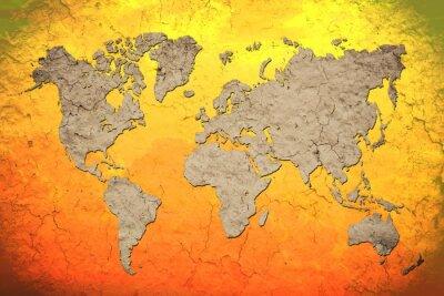 Adesivo vintage mappa del mondo con sfondo rosso