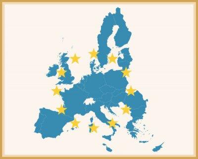 Adesivo Vintage Mappa di Unione Europea con la bandiera UE