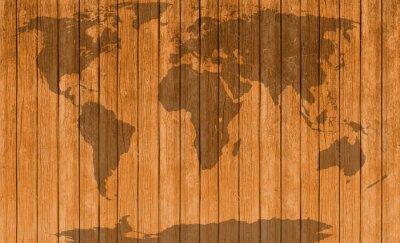 Adesivo Vintage mappa texture di sfondo in legno