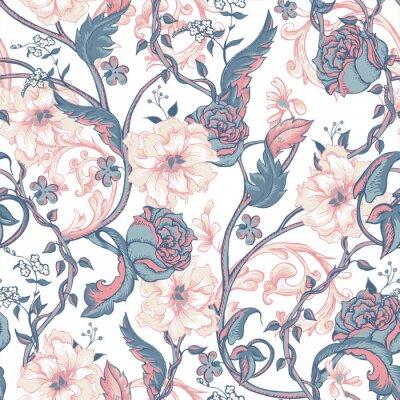 Adesivo Vintage seamless con fioriscono magnolie, rose e ramoscello