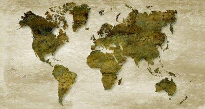 Adesivo Vintage seppia sfondo mappa del mondo