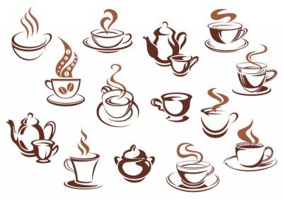 Adesivo Vintage tazze di caffè marrone e pentole