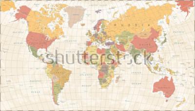 Adesivo Vintage World Map - Detailed Vector Illustration