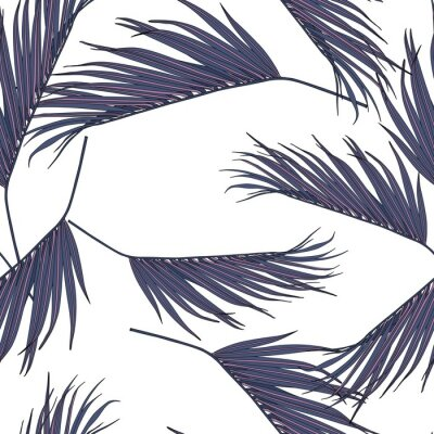 Adesivo Violet coconut palm leaves by hand drawing and sketch with line-art seamless pattern on white  backgrounds.