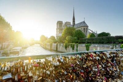 Adesivo Vista della cattedrale di Notre Dame a Parigi con le serrature famosi d'amore