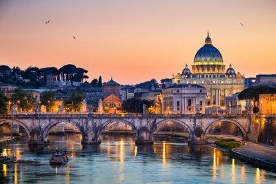 Adesivo Vista notturna della Basilica di San Pietro a Roma, Italia