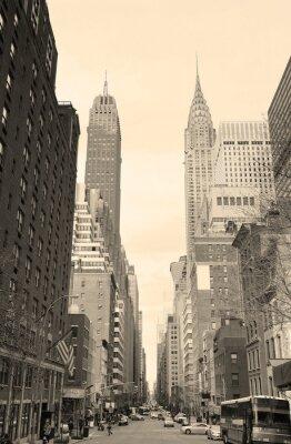 Adesivo Vista strada di New York City Manhattan in bianco e nero