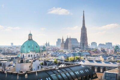 Adesivo Visualizza su Vienna skyline con la Cattedrale di Santo Stefano al mattino, Vienna, Austria