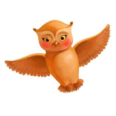 Adesivo Volare icona gufo. Illustrazione in stile cartone animato di un gufo marrone. S