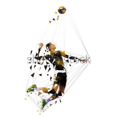 Adesivo Volleyball player serving ball, polygonal vector illustration