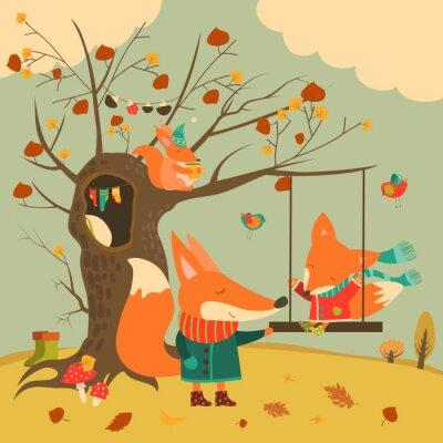 Adesivo volpi Carino giro su un altalena nel bosco in autunno