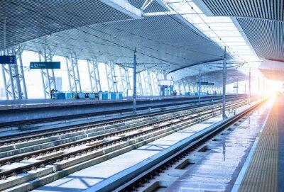 Adesivo vuoto ferroviaria piattaforma sfondo