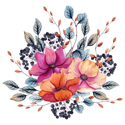 Adesivo Watercolor Autumn Floral Composition with Pink and Red Flowers