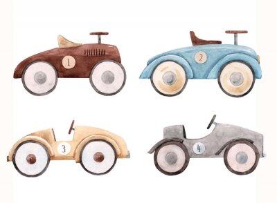 Adesivo Watercolor baby car illustration