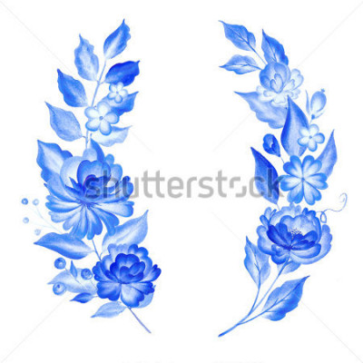 Adesivo Watercolor blue flowers  in gzhel style.Floral background.