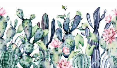 Adesivo Watercolor cacti, seamless border, hand drawn flower illustration. Perfect for floral design greeting card, blog, site, banner, wedding invitation. Isolated on white.  Cacti collection.