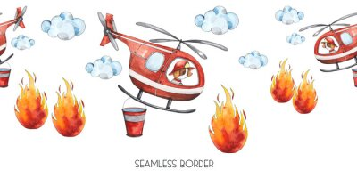 Adesivo Watercolor cartoon cute seamless border Firefighting and fire safety equipment illustration. Fire helicopter, dog, helmet, hose, column, fire extinguisher. Baby shower red colorful clip art