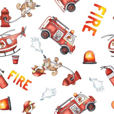 Adesivo Watercolor cartoon cute seamless pattern Firefighting and fire safety equipment illustration. Fire truck, helicopter, dog, helmet, hose, column, fire extinguisher. Baby shower red colorful clip art