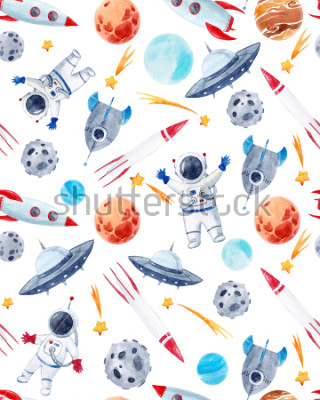 Adesivo Watercolor cutepattern  space illustrations , the man in the spacesuit of an astronaut, rocket, shooting star, flying saucer
