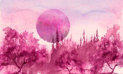Adesivo Watercolor drawing, illustration. Forest landscape, fir, pine, tree, cedar, red, pink sun, sunset, sunrise. Splash paint, abstract illustration. Art painting. Winter landscape. Mystic forest