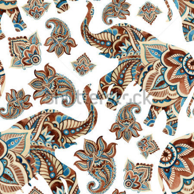 Adesivo Watercolor ethnic elephant with paisley elements background. Abstract indian seamless pattern with paisley ornament on white background. Hand painted illustration for boho, tribal design