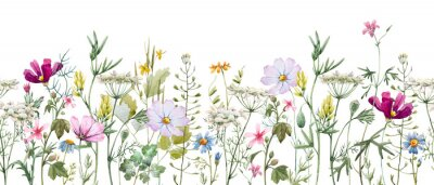 Adesivo Watercolor floral pattern