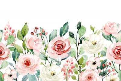 Adesivo Watercolor flowers, pink, white roses. Floral summer repeat border for printing invitations, greeting cards, wall art, stickers and other. Isolated on white. Hand painted.
