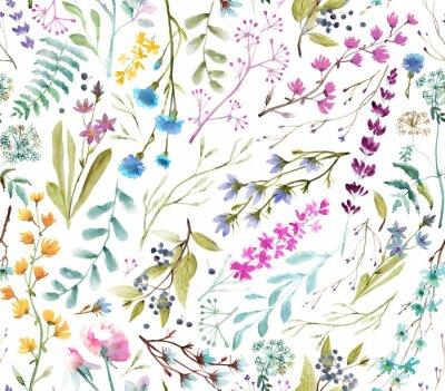 Adesivo  Watercolor flowers. Seamless watercolor pattern.