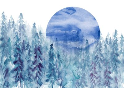 Adesivo Watercolor group of trees - blue fir, pine, cedar, fir-tree. Forest on the slope, cliff, grief. Blue forest, landscape, fog forest landscape, slope, mountain. Full moon, eclipse.