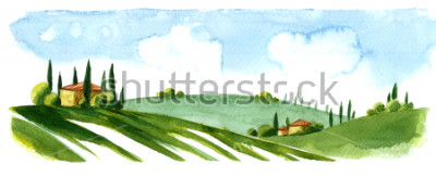 Adesivo Watercolor illustration of small village in Europe. Alpine landscape