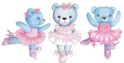 Adesivo Watercolor illustration of three dancing teddy bears in pink ballet dresses.