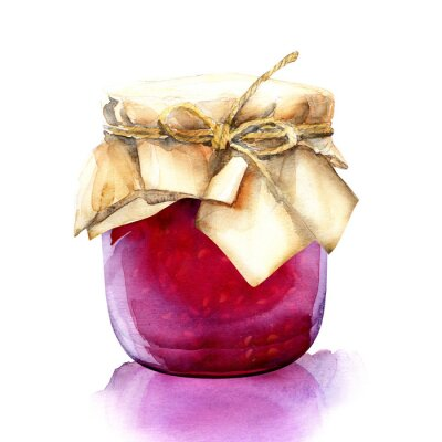 Adesivo watercolor jar with a red berries jam