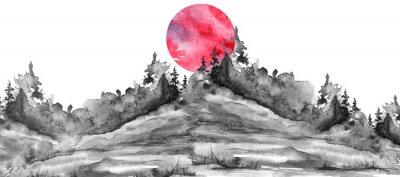 Adesivo Watercolor logo, postcard, background Black silhouette of the forest, pine, spruce, cedar, wild grass, bush. Watercolor landscape,coast, island.black splash of paint, abstract spots. Red, pink sun