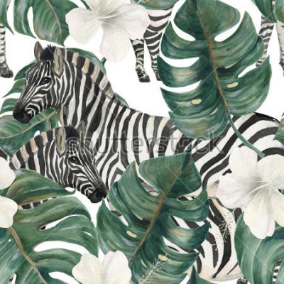 Adesivo Watercolor painting seamless pattern with tropical deliciosa leaves, hibiscus flowers and zebra