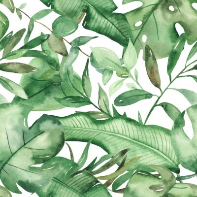 Adesivo Watercolor seamless pattern green tropical leaves