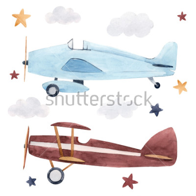 Adesivo Watercolor set of isolated children's illustrations, airplanes, starry sky and clouds. Children's birthday