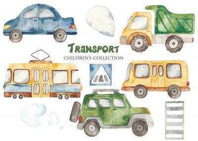 Adesivo Watercolor set with a cute cartoon kids transport for a boy. Cars, bus, tram, truck for baby shower, cards, invitations, prints, logos.