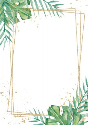 Adesivo Watercolor tropical floral wedding cards, frame, template. Summer leaves and branches for invitation greeting cards, postcards