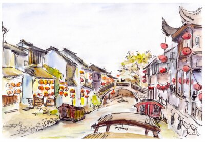 Adesivo Watercolor - water canal in old town in China. Red lanterns.