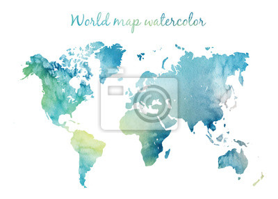 Adesivo Watercolor world map in vector on wight background. Illustration in vector