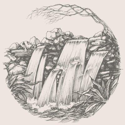 Adesivo Waterfall round drawing