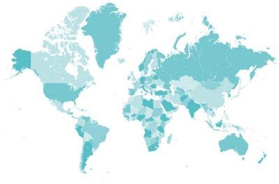 Adesivo Welt Karte mit blau Länder Grenzen Vektor Grafik