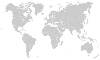 Adesivo Weltkarte - Hellgrau (Hoher Detailgrad)