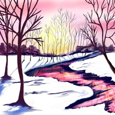 Adesivo Winter landscape with trees in white and pink colors. Pink sunset by the river. The sun shines through the trees. Christmas party. Postcard, poster