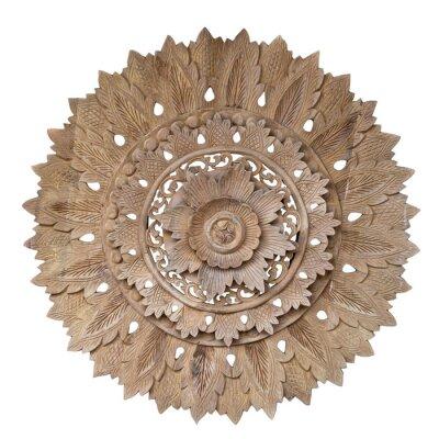 Adesivo Wooden pattern of flower on carve teak wood in circle shape.
