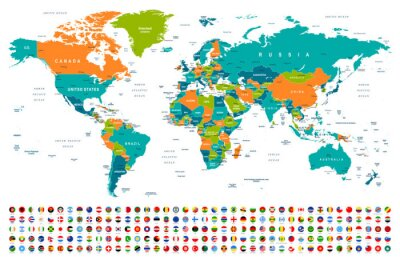 Adesivo World Map and Flags - borders, countries and cities -illustration